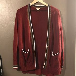 Mossimo cardigan red striped